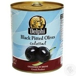 olive Delfi black pitted 850ml can Greece