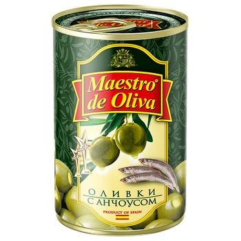 Оливки зеленые Maestro de Oliva с анчоусом 314мл