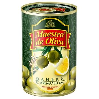 Оливки зеленые Maestro de Oliva с лимоном 300мл