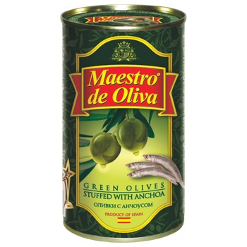 Maestro de Oliva Stuffed With Anchovies Green Olives Can 350ml