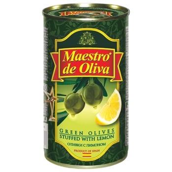 Оливки Маэстро де Олива зеленые с лимоном 370мл - купить, цены на МегаМаркет - фото 1