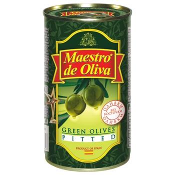 Оливки Маэстро де Олива зеленые без косточки 350г