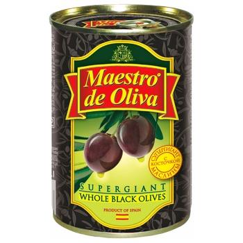 Маслины Maestro de Oliva Супергигант с/к ж/б 425г - купить, цены на Метро - фото 1