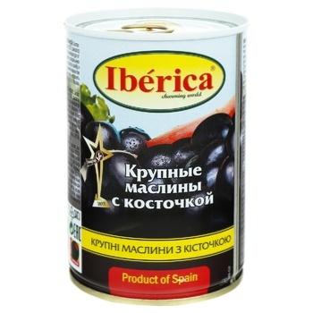 Маслины Иберика крупные черные с косточкой 420г - купить, цены на Ашан - фото 1