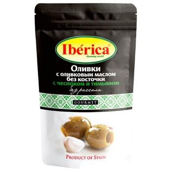 Маслины без косточки Iberica без рассола с чесноком и тимьяном 70г