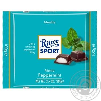 Шоколад черный Ritter Sport с кремово-мятной начинкой 100г - купить, цены на Novus - фото 1