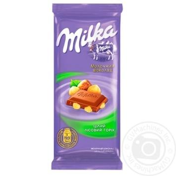 Шоколад Milka молочний з цілим лісовим горіхом 90г