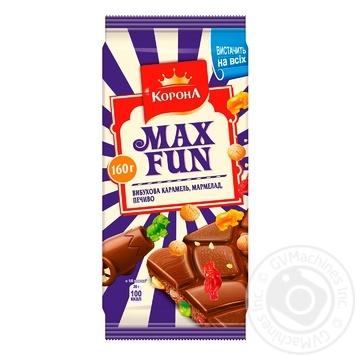 Шоколад молочный Корона МаксФан с мармеладом, печеньем и взрывной карамелью 160г - купить, цены на Novus - фото 1