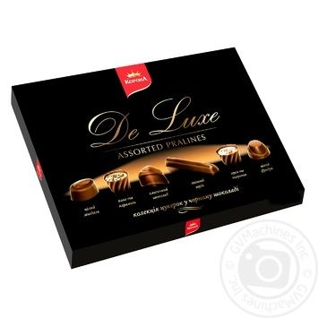 Цукерки Корона De Luxe колекція в чорному шоколаді 146г