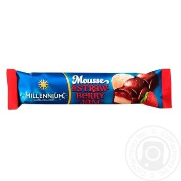 Шоколад молочний Millennium Mousse з мусовою та полуничною начинкою 33г - купити, ціни на ЕКО Маркет - фото 1