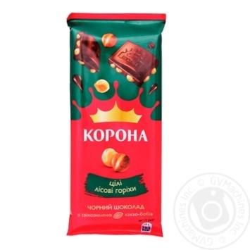 Шоколад Корона черный с целыми лесными орехами 90г - купить, цены на Novus - фото 1