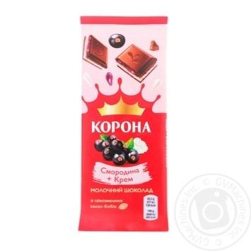 Шоколад молочный Корона со смородиновой и кремовой начинками 85г - купить, цены на Novus - фото 1