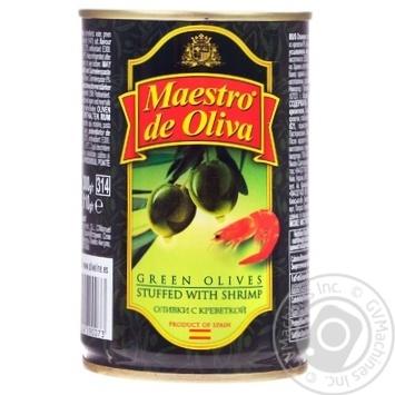 Оливки зеленые Maestro de Oliva с креветкой 300мл - купить, цены на Novus - фото 1