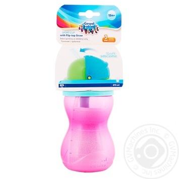 Поильник Canpol babies с трубочкой розовый 370мл - купить, цены на СитиМаркет - фото 1