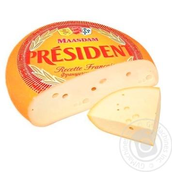 Сыр President Мааздам твердый головка 48% - купить, цены на Метро - фото 1
