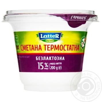Сметана термостатна безлактозна LatteR 15% 200г - купити, ціни на МегаМаркет - фото 1