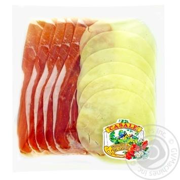 Закуска Casale ветчина сыровяленая сыр Проволоне нарезка слайсами 100г - купить, цены на Метро - фото 1