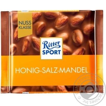 Шоколад молочний Ritter Sport Медовий солоний мигдаль 100г - купити, ціни на Метро - фото 1