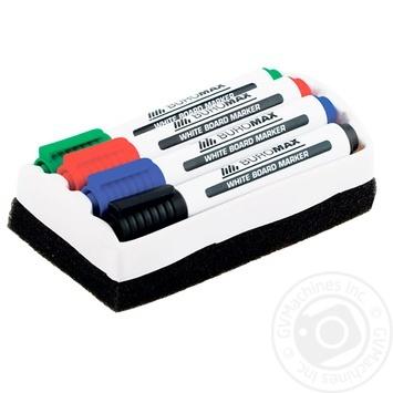Набір Buromax для фліпчарту 4 маркера+губка