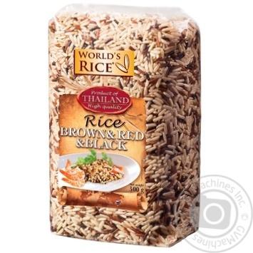 Рис World`s Rice Brown + Red + Black нешліфований 500г - купити, ціни на Ашан - фото 1