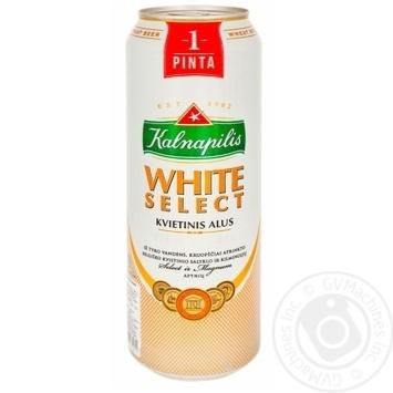 Пиво Kalnapilis White Select светлое нефильтрованное пастеризованное 5% 0,568л