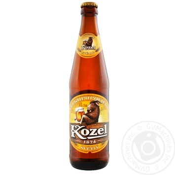Пиво Velkopopovicky Kozel светлое фильтрованное пастеризованное 4% 0,45л - купить, цены на Фуршет - фото 1