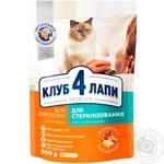 Корм для котов Клуб 4 лапы сухой для стерилизованных котов 300г