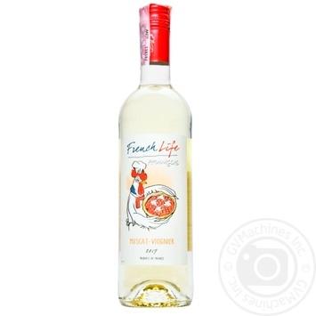 Вино French Life Muscat-Viognier белое сухое 11,5% 0,75л - купить, цены на Метро - фото 1