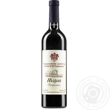 Вино красное Винодельческое хозяйство Князя П.Н.Трубецкаго Мерло Выдержанное натуральное виноградное столовое сортовое сухое 13% 0,75л