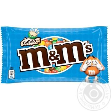 Драже M&M's з рисовими кульками у молочному шоколаді і різнокольоровій глазурі 36г - купити, ціни на Ашан - фото 1