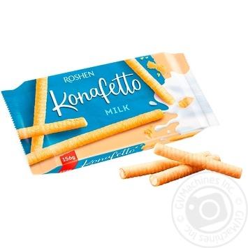 Вафельні трубочки Roshen Konafetto з начинкою молоко 156г - купити, ціни на МегаМаркет - фото 1