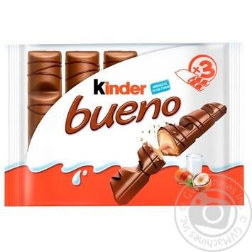 Вафли Kinder Bueno с молочно-ореховой начинкой покрытые молочным шоколадом 3шт 129г - купить, цены на Ашан - фото 1