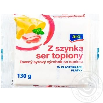 Сыр Aro плавленый с ветчиной ломтики 36.2% 130г - купить, цены на Метро - фото 1