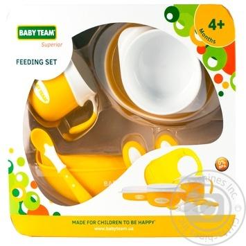 Набір для годування Baby Team (тарілка, миска, чашка, 2 ложки, виделка, нагрудник) - купити, ціни на Novus - фото 1