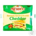 Сир плавлений President Cheddar для тостів 40% 120г