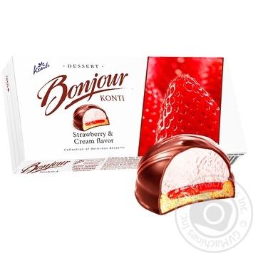 Десерт Konti Bonjour Клубника со сливками 232г
