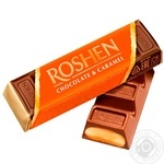 Батончик Roshen молочно-шоколадний з наповнювачем карамель 40г