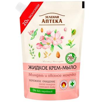 Мыло-крем Зеленая Аптека миндаль и овсяное молочко 460мл - купить, цены на Метро - фото 1