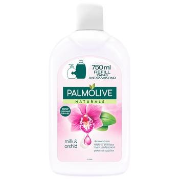 Жидкое мыло Palmolive Натурель Роскошная мягкость с орхидеей и увлажняющим молочком сменный блок 750мл - купить, цены на МегаМаркет - фото 1