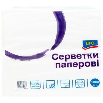 Серветки паперові Aro одношарові білі 24х24 1000шт