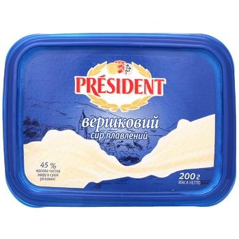 Сир плавлений President вершковий 45% 200г - купити, ціни на Метро - фото 1