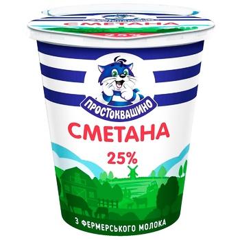 Сметана Простоквашино 25% 340г - купити, ціни на Ашан - фото 1