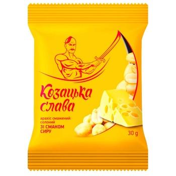 Арахис Казацкая Слава соленый жареный со вкусом сыра 30г - купить, цены на Фуршет - фото 1