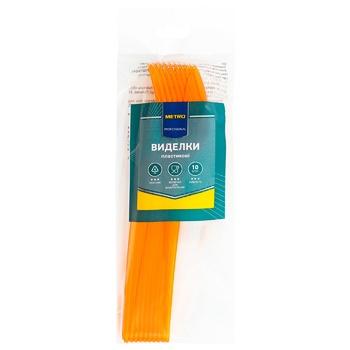 Вилки пластиковые Metro Professional прозрачные желтые 10шт. - купить, цены на Метро - фото 1