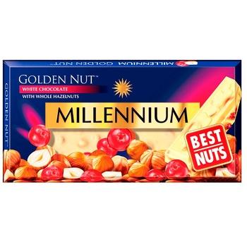 Шоколад білий Millennium Golden Nut з цілими лісовими горіхами та журавлиною 100г