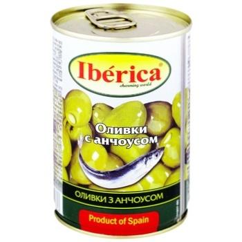 Оливки Иберика зеленые с анчоусом 314мл - купить, цены на Метро - фото 1