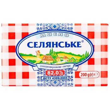 Масло Селянське солодковершкове екстра 82% 200г