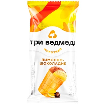 Мороженое Три Медведя Лимонно-Шоколадное двухслойное в вафельном стаканчике 80г - купить, цены на СитиМаркет - фото 2