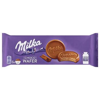 Вафлі Milka Choco Wafer з какао в молочному шоколаді 150г