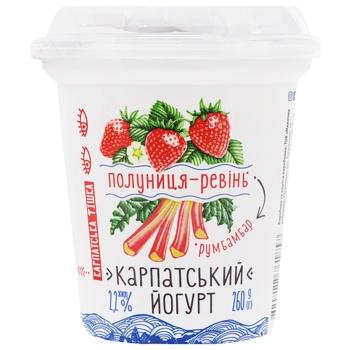 Galychyna Strawberry-Rhubarb Flavored Yogurt 2,2% 260g - buy, prices for CityMarket - photo 1